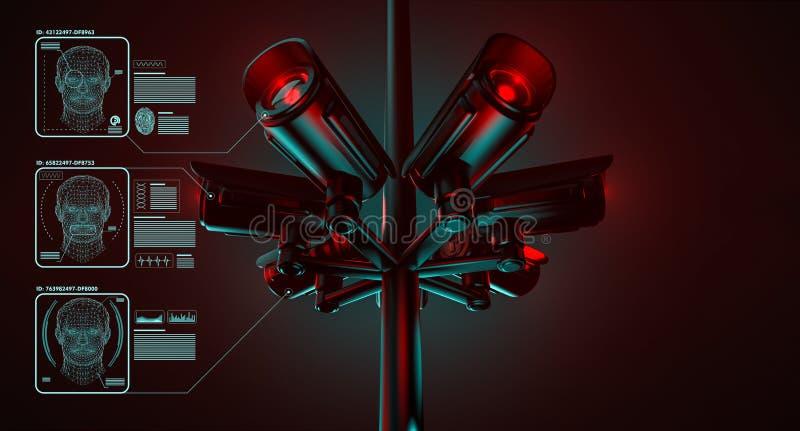 Kabeltelevisie controleert informatie over burgers in toezichtveiligheidssysteem De grote broer let op u concept het 3d teruggeve royalty-vrije illustratie