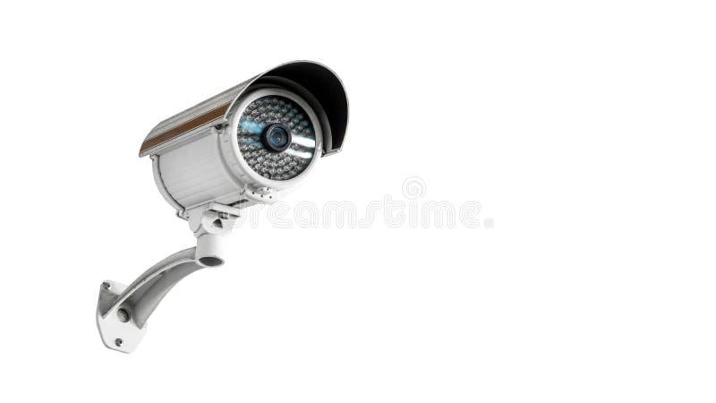 Kabeltelevisie-de camera videodiemateriaal van de toezichtveiligheid op muur van toren of huis op witte ruimte als achtergrond en stock afbeelding
