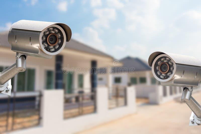 Kabeltelevisie-de cameraveiligheid die van het Stadshuis bij huis werken stock afbeelding
