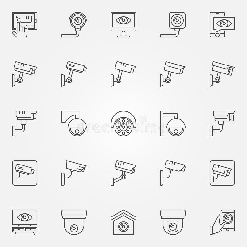 Kabeltelevisie-geplaatste pictogrammen - vector de lijnsymbolen van het cameraconcept royalty-vrije illustratie