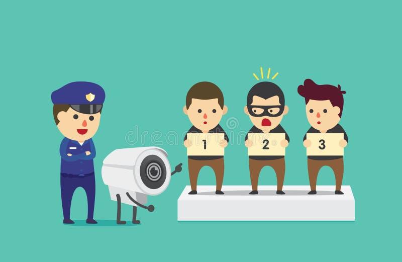 Kabeltelevisie-hulppolitie om verdachte te identificeren vector illustratie