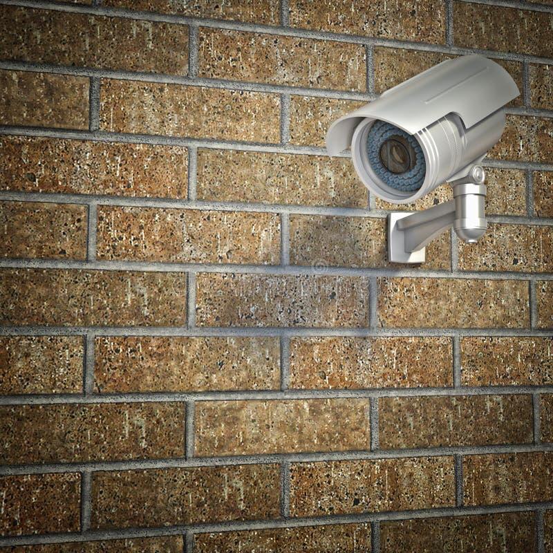 Kabeltelevisie op bakstenen muur stock illustratie