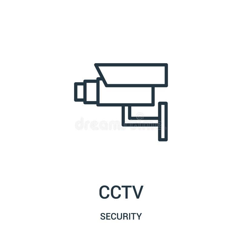 kabeltelevisie-pictogramvector van veiligheidsinzameling De dunne van het het overzichtspictogram van lijnkabeltelevisie vectoril vector illustratie