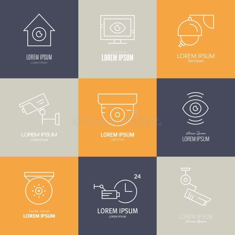 Kabeltelevisie van lijnpictogrammen stock illustratie