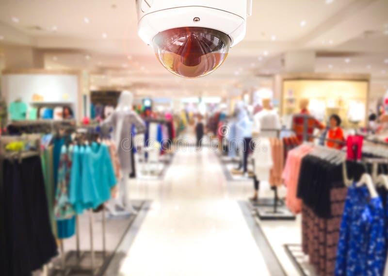 Kabeltelevisie-Veiligheidscamera het winkelen warenhuis op achtergrond royalty-vrije stock afbeelding
