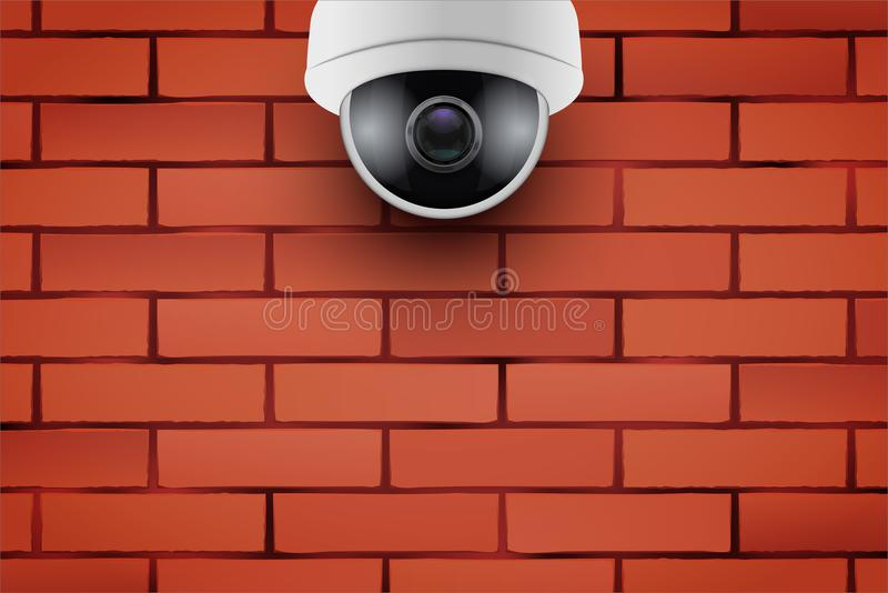 Kabeltelevisie-veiligheidscamera op bakstenen muur stock illustratie