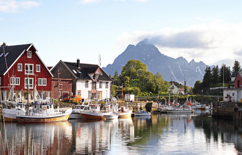 Kabelvåg, Lofoten-eilanden - Noorwegen stock afbeeldingen