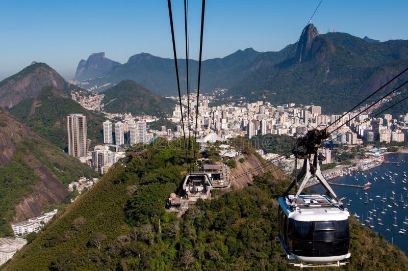 Kabelwagen aan de Sugarloaf-Berg in Rio de Janeiro royalty-vrije stock afbeeldingen