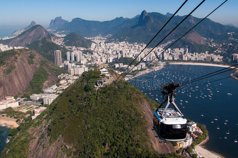 Kabelwagen aan de Sugarloaf-Berg in Rio de Janeiro stock foto
