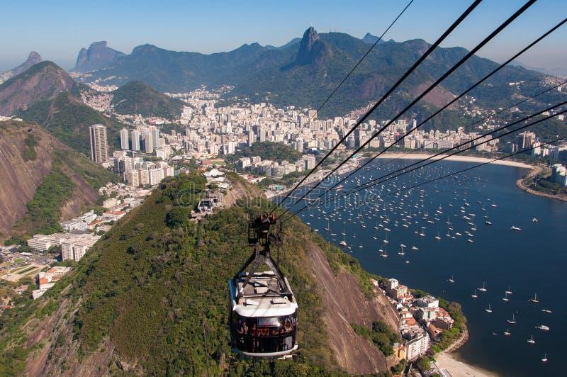 Kabelwagen aan de Sugarloaf-Berg in Rio de Janeiro stock fotografie