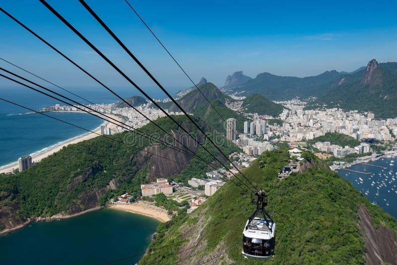 Kabelwagen aan de Sugarloaf-Berg in Rio de Janeiro royalty-vrije stock foto's