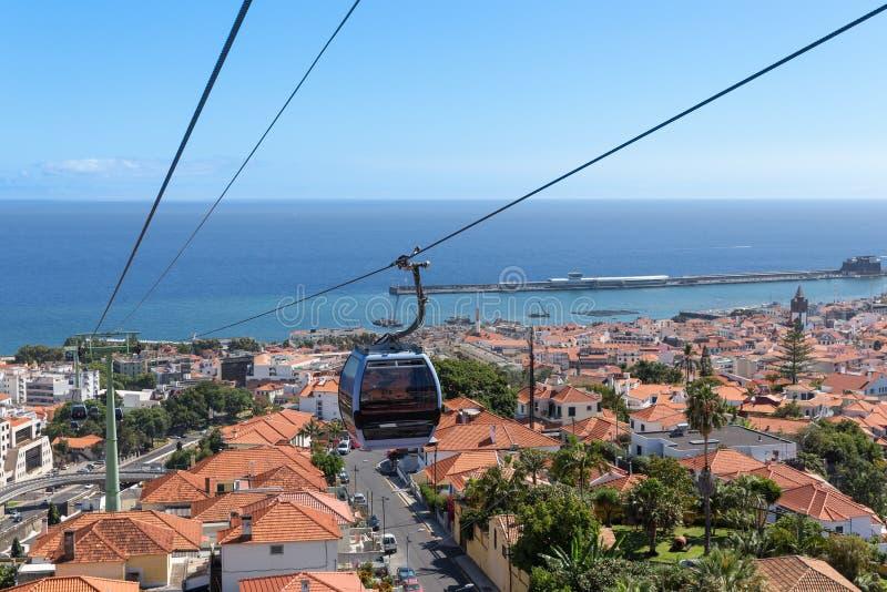 Kabelwagen aan Monte het Eiland Portugal in van Funchal, Madera royalty-vrije stock foto's