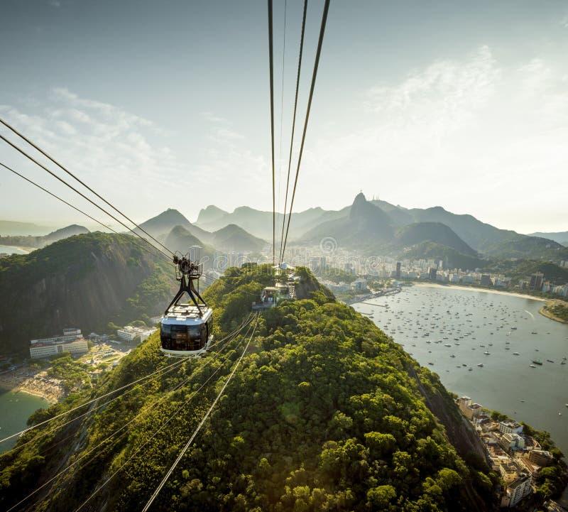Kabelwagen die naar Sugarloaf-berg in Rio de Janeiro, Brazili? gaan stock fotografie