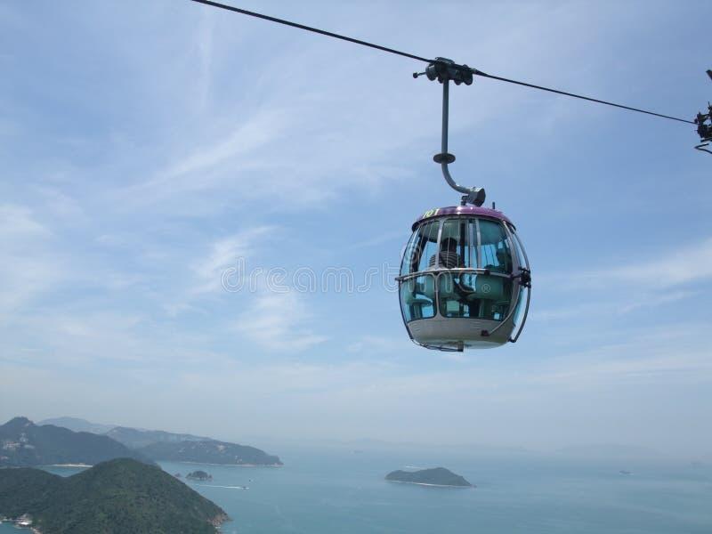 Kabelwagen in Oceaanpark in Hong Kong stock foto's