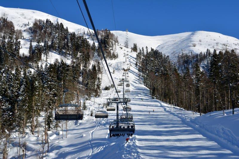 Kabelwagen in Ski Resort royalty-vrije stock foto