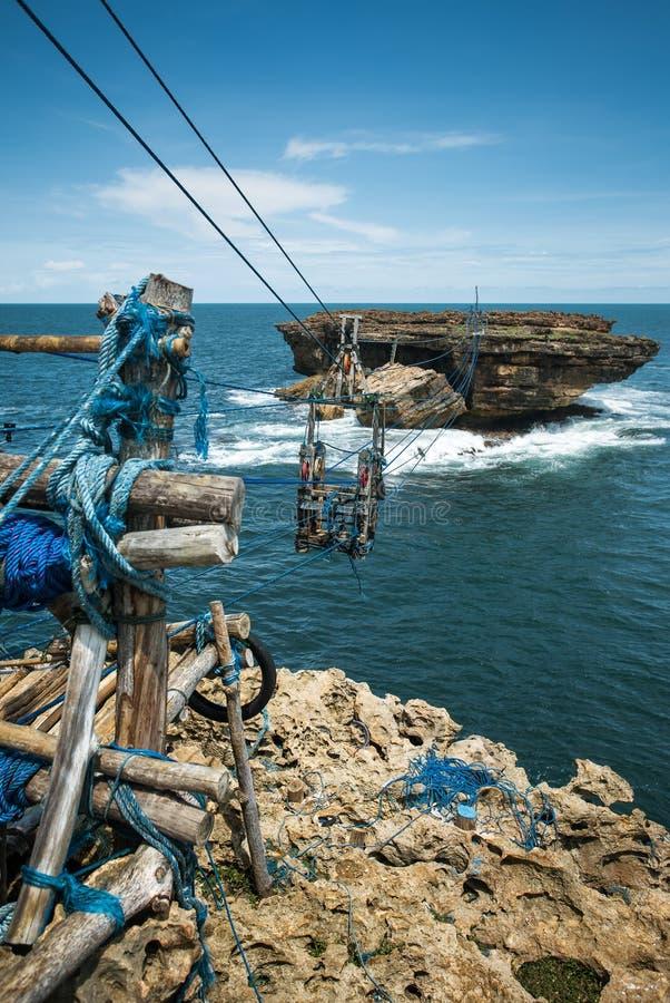 Kabelwagenlift tussen Timang-strandkust en klein rotsachtig eiland stock afbeelding