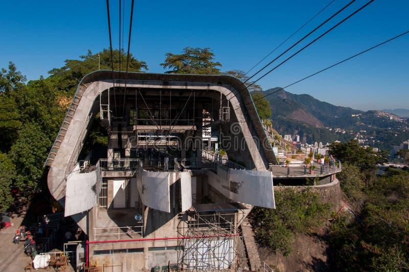Kabelwagenpost op Urca-Berg royalty-vrije stock foto's