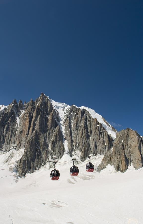 Kabelwagens - Chamonix, Frankrijk stock afbeeldingen