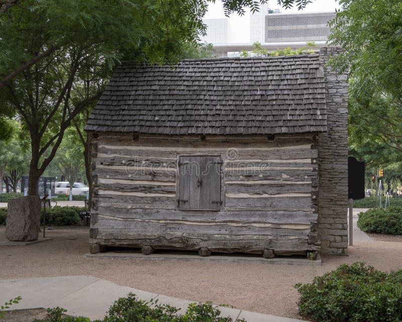 Kabin för journal för John Neely Bryan ` s, Dallas, Texas royaltyfria foton