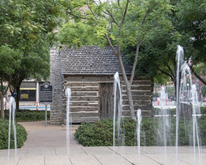 Kabin för journal för John Neely Bryan ` s, Dallas, Texas arkivfoton