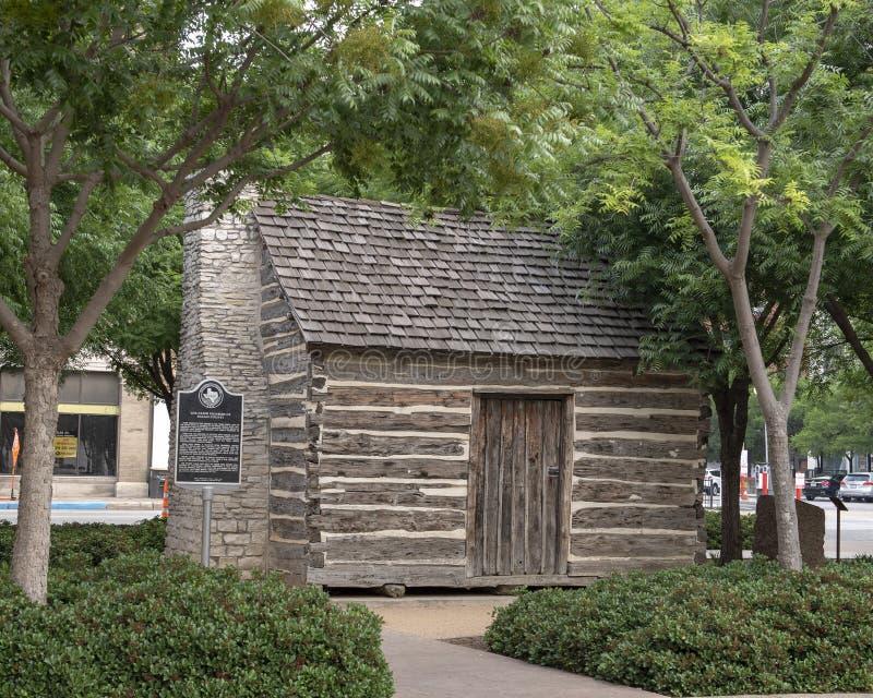 Kabin för journal för John Neely Bryan ` s, Dallas, Texas arkivfoto
