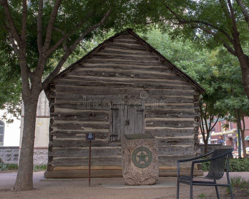 Kabin för journal för John Neely Bryan ` s, Dallas, Texas royaltyfri foto