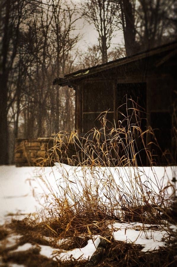 Kabin i snowen royaltyfria foton