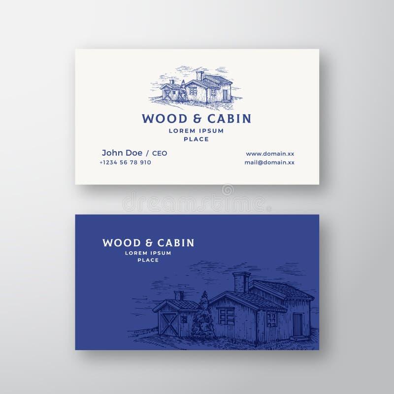 Kabina w drewno Abstrakcjonistycznego rocznika wizytówki i logo Wektorowym szablonie Eleganckich Drewnianych budynków Krajobrazow ilustracji
