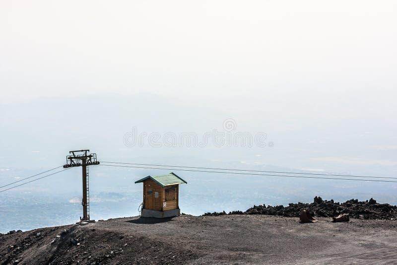 Kabincableway på den Etna vulkan, Lipari, Sicilien fotografering för bildbyråer