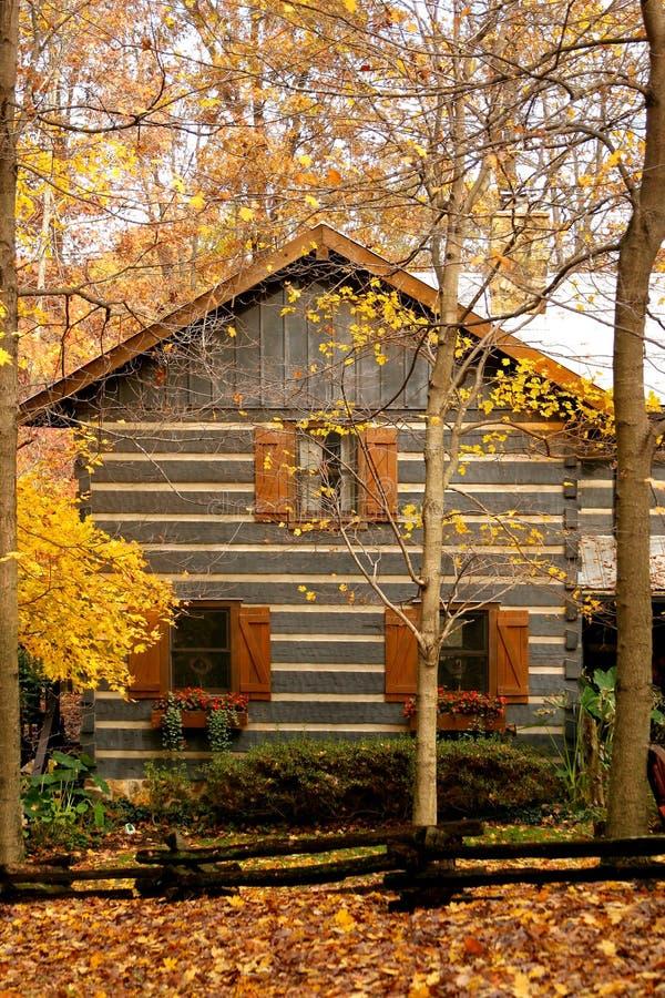 Kabine im Holz mit Herbst lizenzfreie stockfotografie