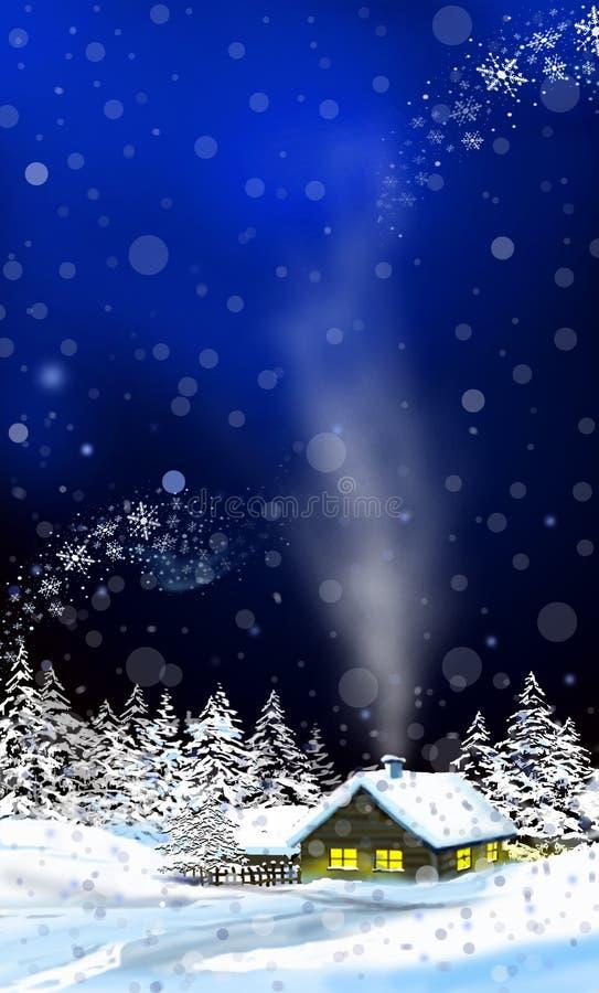 Kabine im Schnee lizenzfreie abbildung