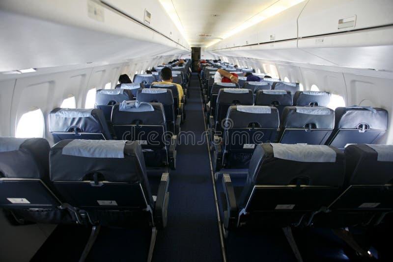 Kabineansicht der Sitze auf Flugzeug lizenzfreie stockfotografie