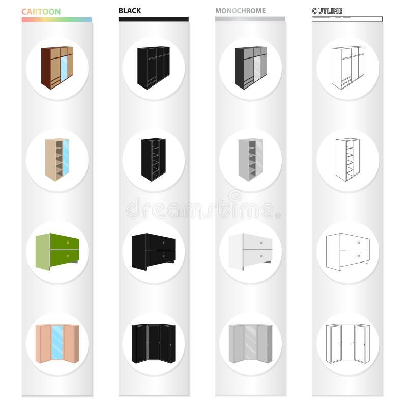 Kabinet, deur, glas, en ander Webpictogram in beeldverhaalstijl Combineer, kast, kastpictogrammen in vastgestelde inzameling stock illustratie
