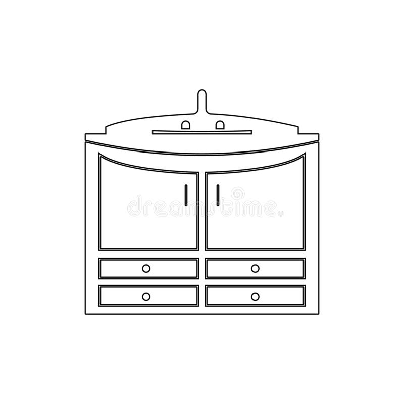 kabinet onder het pictogram van het gootsteenoverzicht Badkamers en saunaelementenpictogram Het grafische ontwerp van de premiekw stock illustratie