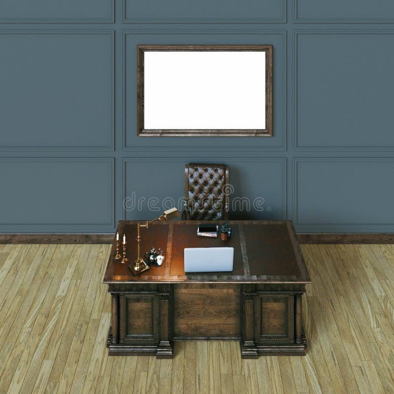 Kabinet van het luxe het klassieke houten bureau met spot op affiche bovenkant vi stock illustratie
