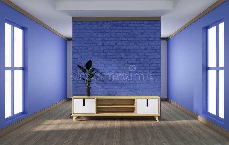 Kabinett design, modern vardagsrum med den purpurfärgade tegelstenväggen på det vita trägolvet framf?rande 3d royaltyfri illustrationer