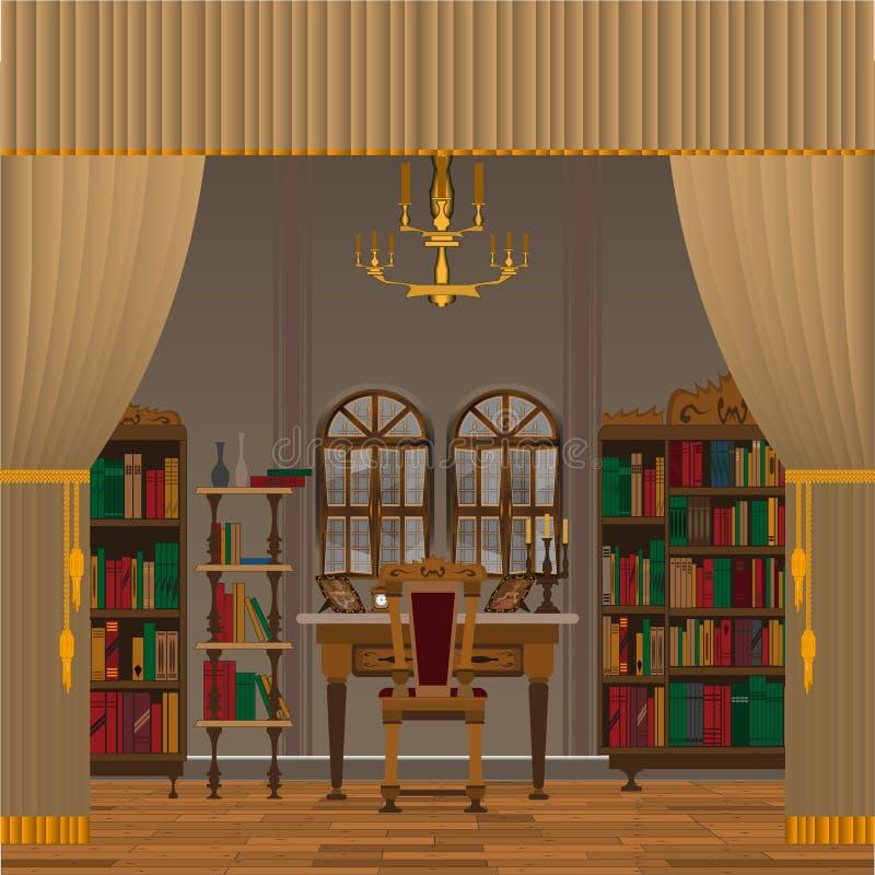 Kabinett- eller vardagsruminre med antikt möblemang royaltyfri illustrationer