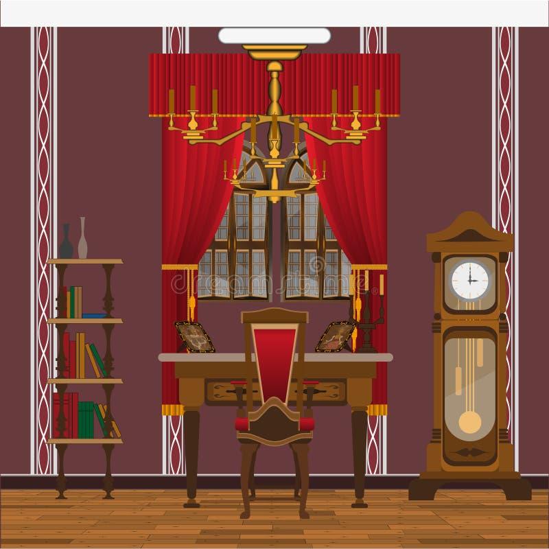 Kabinett- eller vardagsruminre med det stora fönstret och den stora klockan royaltyfri illustrationer