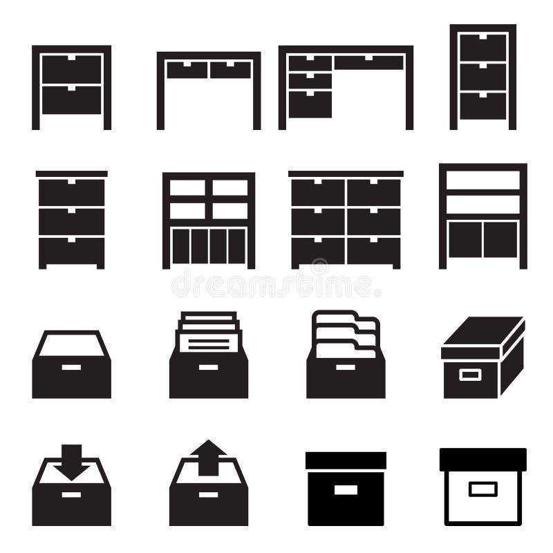 Kabinett & lagringssymbolsuppsättning vektor illustrationer