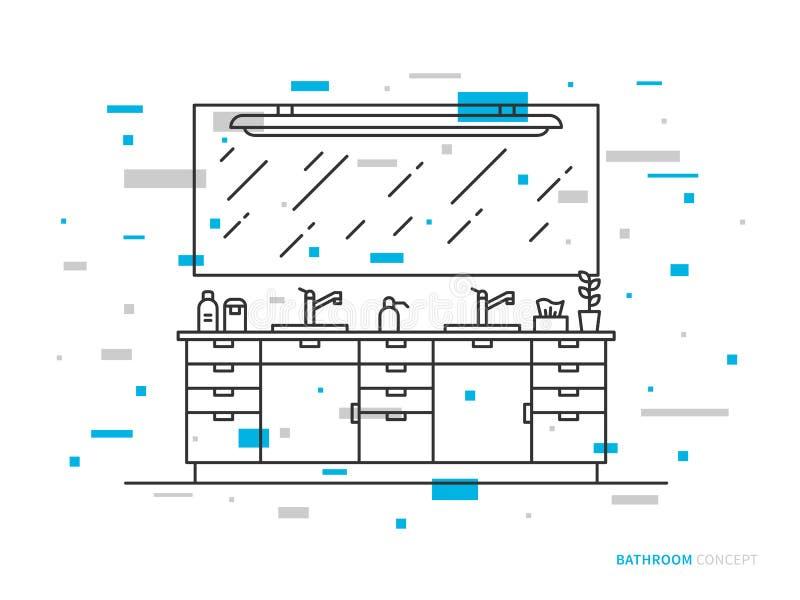 Kabinett med vaskvektorlinjen konstillustration vektor illustrationer