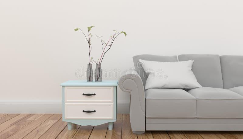 Kabinett mit Anlage und Kissen auf grauem Sofa vor leerer weißer Hintergrundwand Wiedergabe 3d lizenzfreie abbildung