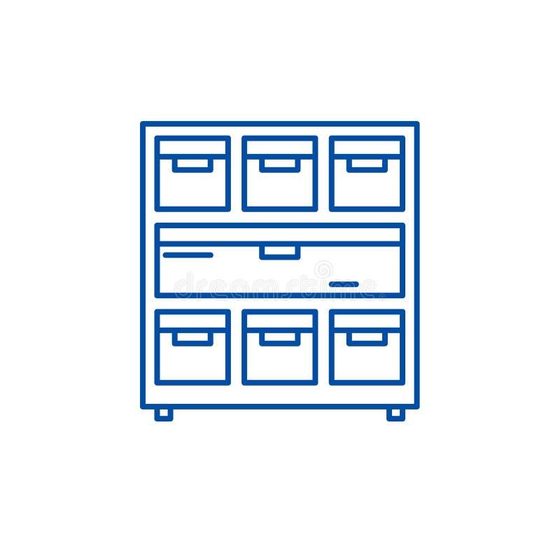 Kabinett mit Dokumenten zeichnen Ikonenkonzept Kabinett mit flachem Vektorsymbol der Dokumente, Zeichen, Entwurfsillustration vektor abbildung