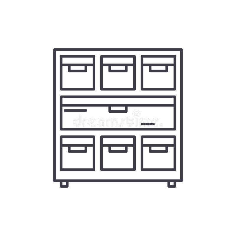 Kabinett mit Dokumenten zeichnen Ikonenkonzept Kabinett mit linearer Illustration des Dokumentenvektors, Symbol, Zeichen vektor abbildung