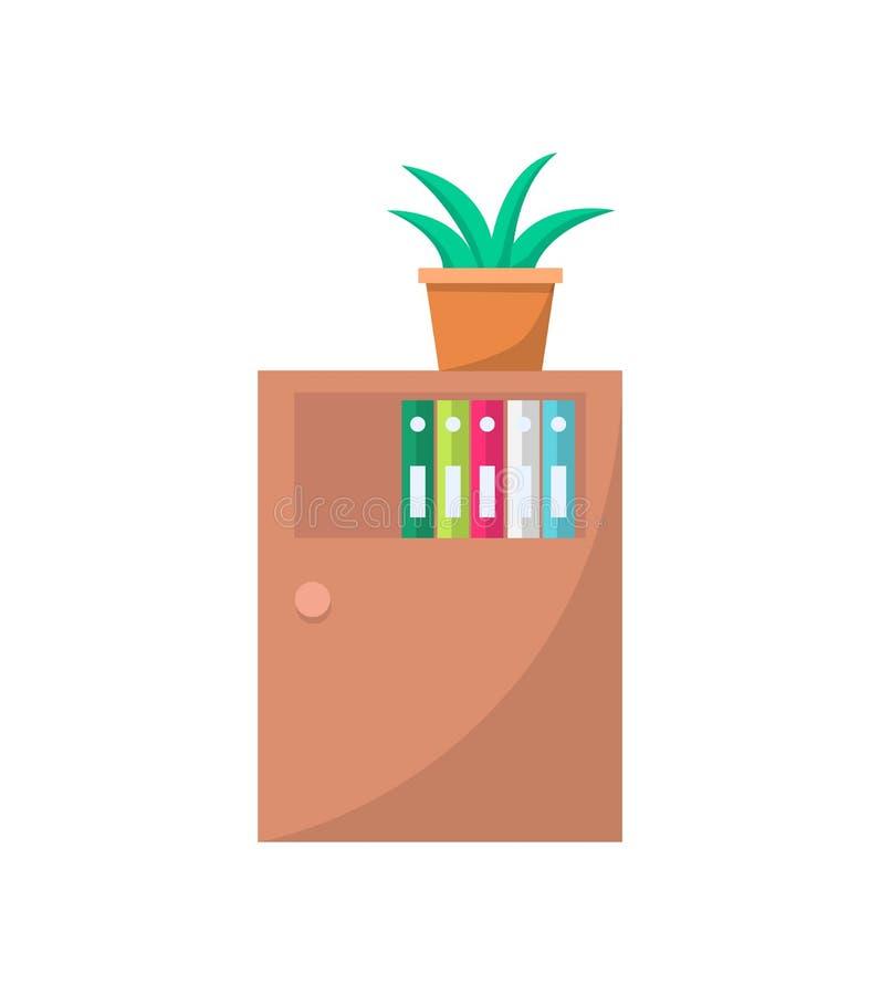 Kabinett mit Tür-Schrank mit Fächern oder Regalen vektor abbildung