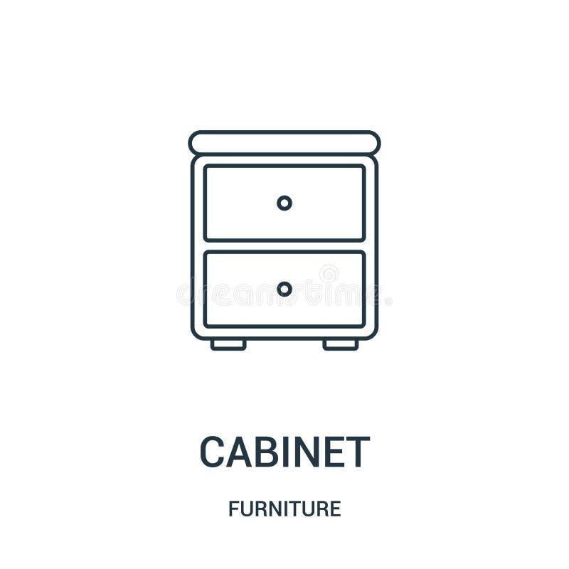 kabinett symbolsvektor från möblemangsamling Tunn linje kabinett illustration för översiktssymbolsvektor Linjärt symbol för bruk  stock illustrationer