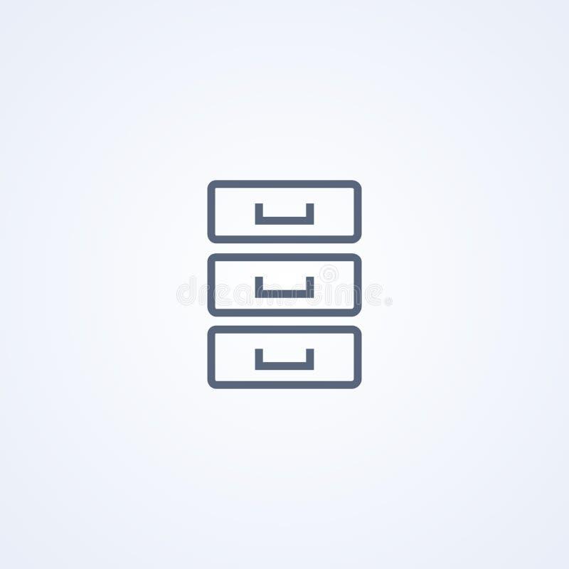 Kabinettbriefpapier, Archivkasten, beste graue Linie Ikone des Vektors vektor abbildung