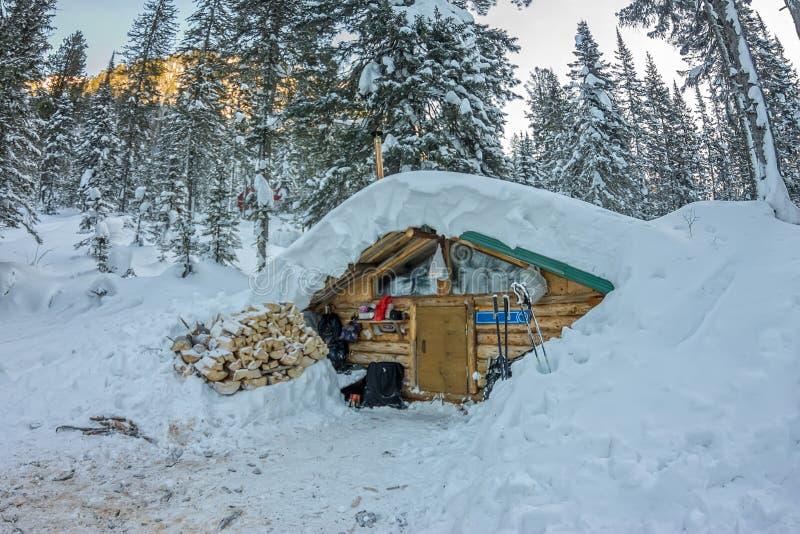 Kabinhuschalet i vinterskog med snö royaltyfri foto