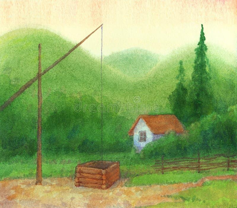 kabinowe osamotnione góry zbliżać starego well ilustracji
