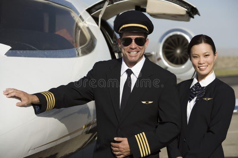 Kabinowi załoga członkowie samolotem fotografia royalty free