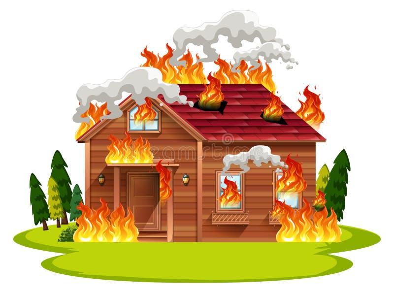 Kabinträhus på brand stock illustrationer